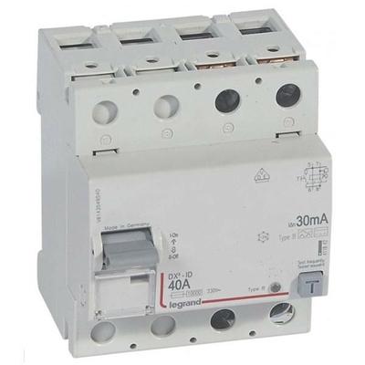 Legrand - Interrupteur différentiel DX³-ID - vis/vis - 2P- 230V~-40A - type B - 300mA - départ bas - 411844