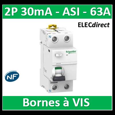 Schneider- Acti9, iID interrupteur différentiel 2P 63A 30mA type Asi - A9R31263