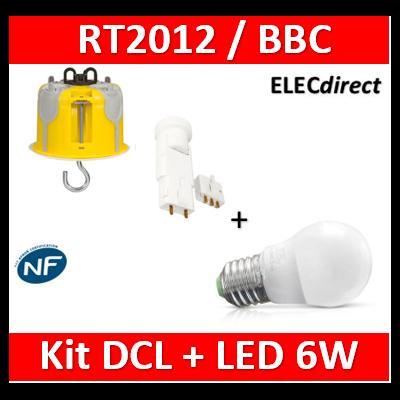 Vision-EL - Ampoule LED E27 Bulb G45 6W 3000°K + Kit DCL plafond BBC - 7486B+089377+11127