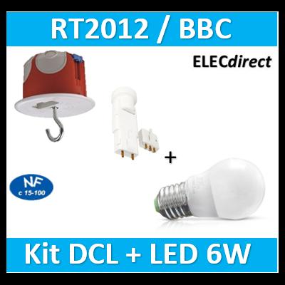 Vision-EL - Ampoule LED E27 Bulb G45 6W 3000°K + Kit DCL plafond BBC - 7486B+36859