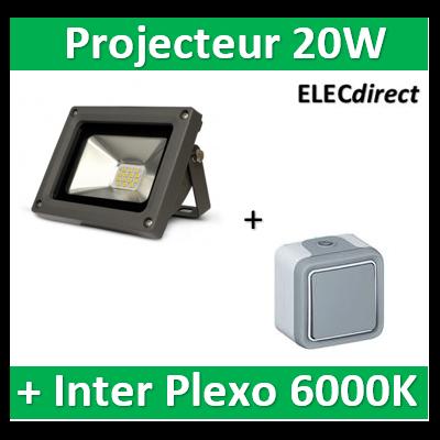 Vision EL - Projecteur LED 20W Gris IP65 + V.V. plexo Legrand - 80421+069711
