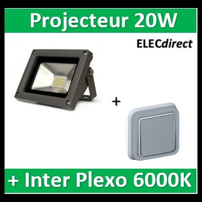 Vision EL - Projecteur LED 20W Gris IP65 + V.V. plexo encastré Legrand - 80421+069811
