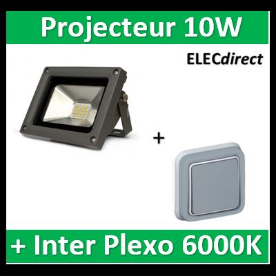 Vision EL - Projecteur LED 10W Gris IP65 + V.V. Plexo encastré Legrand - 80011+069811