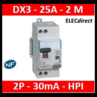 LEGRAND - Disjoncteur Différentiel 2P - 25A - 30ma Type HPI - 410755