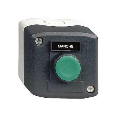 Schneider - Harmony boite - 1 bouton poussoir vert affleurant Ø22 - 1F - Marche - XALD101