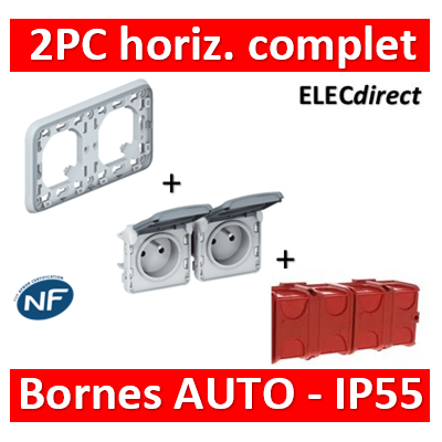 Legrand Plexo - Double PC - complet - horizontal - IP55/IK07 - 069683+069562+080141x2