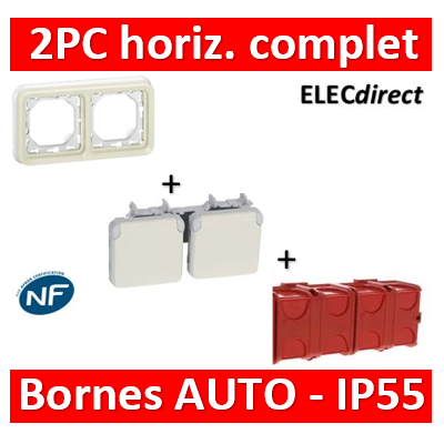 Legrand Plexo - Double PC - complet - horizontal - IP55/IK07 - Blanc - 069694+069643+080141x2