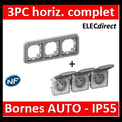 Legrand Plexo - Triple prise de courant 2P+T 16A 230V - horizontal - encastré - IP55/IK07 - 069687+069564