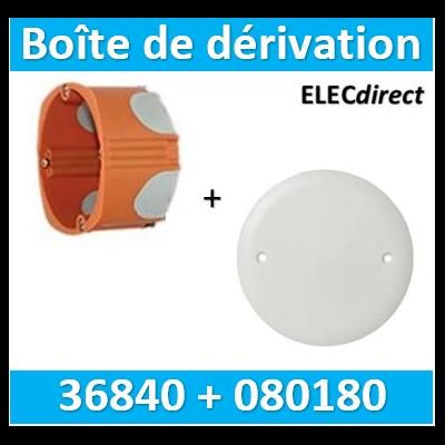 SIB - Boîte simple 1 poste P.40mm + Couvercle universel D85mm = boîte de dérivation  - BBC - 36840+080180