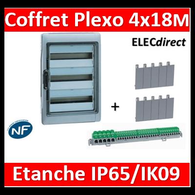 Legrand - Coffret Plexo 4x18 modules avec embouts à perf. directe - IP 65 - IK 09 - Gris - 001927