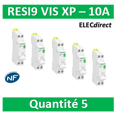 SCHNEIDER - LOT PROS - DISJONCTEUR DUOLINE RESI9 XP (à VIS) - 10A - VIS/VIS - R9PFC610x5