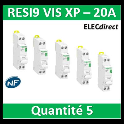SCHNEIDER - LOT PROS - DISJONCTEUR DUOLINE RESI9 XP (à VIS) - 20A - VIS/VIS - R9PFC620x5