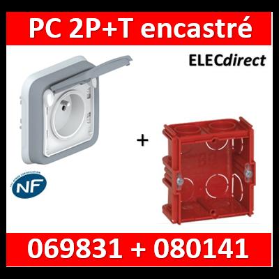 Legrand Plexo - Prise de courant encastré + boîte Batibox - IP55/IK07 - 069831+080141