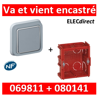 Legrand Plexo - Va-et-Vient encastré + boîte Batibox - IP55/IK07 - 069811+080141