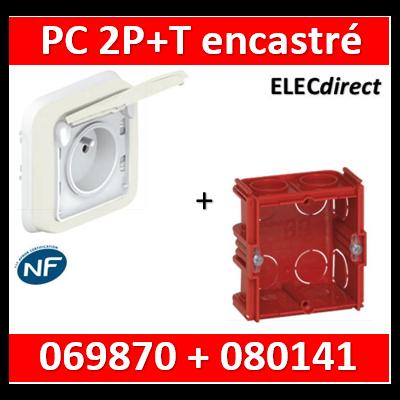 Legrand Plexo - Prise de courant encastré Blanc + boîte Batibox - IP55/IK07 - 069870+080141