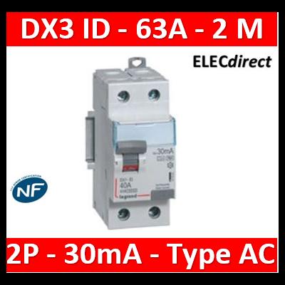 LEGRAND - Interrupteur différentiel dx³-id - vis/vis - 2p- 230v~-63a - type ac - 30ma - départ bas - 411506