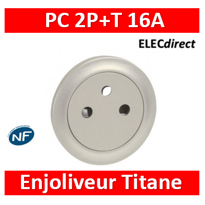 Legrand Céliane - Enjoliveur PC 2P+T Titane - affleurant - Surface - 068411