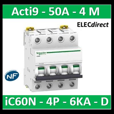 Schneider - Disjoncteur Acti9 - iC60N - 4P - 50A - 6kA - courbe D - A9F75450