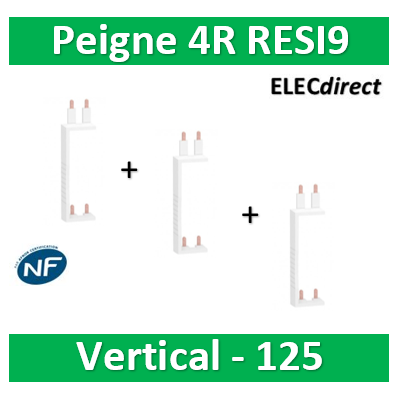 Schneider - Resi9 XP Peigne vertical 4 rangées entraxe 125mm - R9PXVx3