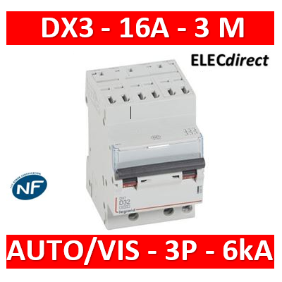 Legrand - Disjoncteur DX³6000 10kA arrivée haute auto départ bas à vis 3P 400V~ - 16A - courbe D - 408075