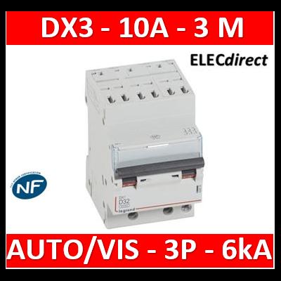Legrand - Disjoncteur DX³6000 10kA arrivée haute auto départ bas à vis 3P 400V~ - 10A - courbe D - 408074