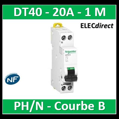 Schneider - DT40 Disjoncteur PH/N - 20A Courbe B - A9N21012