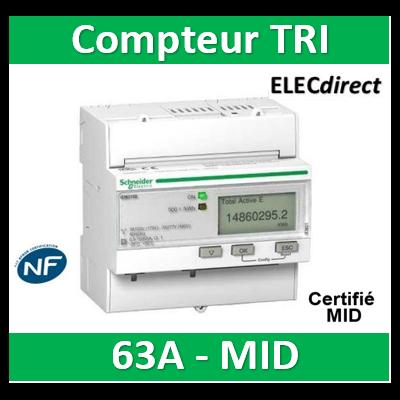 Schneider - Compteur d'énergie - TRI IEM3110 - 63A - impulsion - SCHA9MEM3110 - Acti 9 - MID
