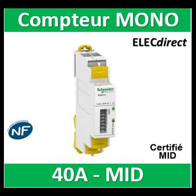 Schneider - iEM Compteur d'énergie mono iEM2000 40A, MID- Acti 9 - A9MEM2000