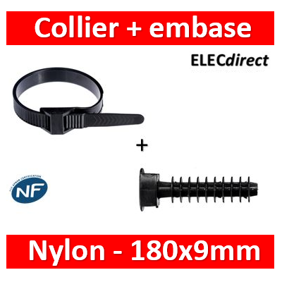 Ram - Collier de fixation nylon - noir - 180x9 + Embase D.8mm - Collier x100+Embase x100