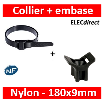Ram - Collier de fixation nylon - noir - 180x9 + Embase à visser - Collier x100+Embase x100