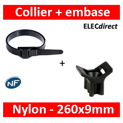 Ram - Collier de fixation nylon - noir - 260x9 + Embase à visser - Collier x100+Embase x100