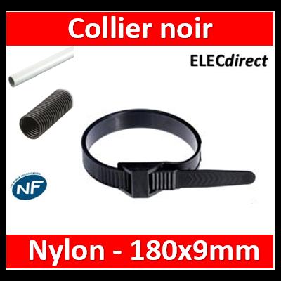 Ram - Collier de fixation nylon - noir - 180x9 - Fixation PRO - boîte de 100