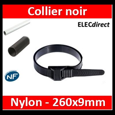 Ram - Collier de fixation nylon - noir - 260x9 - Fixation PRO - boîte de 100