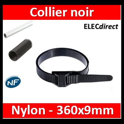 Ram - Collier de fixation nylon - noir - 360x9 - Fixation PRO - boîte de 100