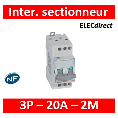 Legrand - DX3 Interrupteur-sectionneur 3P - 20A - 2 modules - 406457