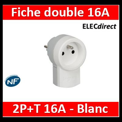 Legrand - Fiche double fonction - 250 V~ - 16 A avec 2P+T 16 A - blanc - 050461