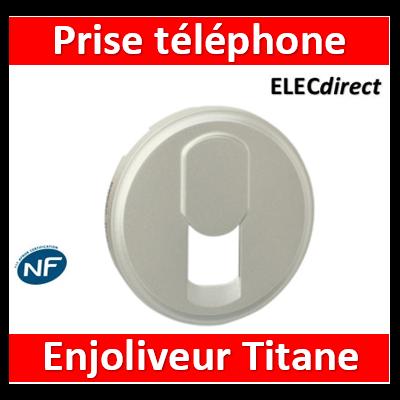 Legrand Céliane - Enjoliveur Titane prise téléphone pour réseau mixte et basique - 068537