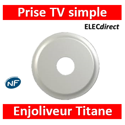 Legrand Céliane - Enjoliveur Titane prise TV simple - 068582