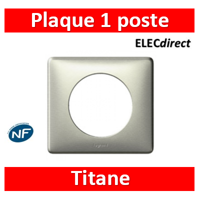 Legrand Céliane - Plaque de finition 1 poste anodisé - Titane - 068901