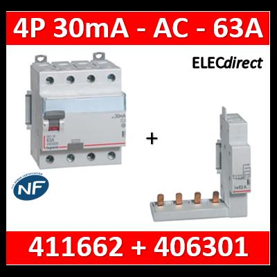 LEGRAND - Interrupteur différentiel DX3-ID 4P 63A - 30mA - AC + module 4P - 411662+406301