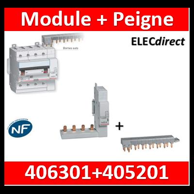 Legrand - Module de raccordement par peigne produit tête de groupe 4P + Peigne HX3 - 406301+405201