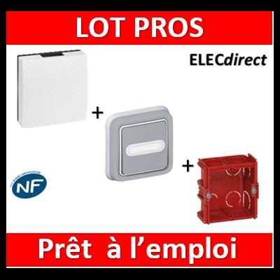 Legrand - Carillon avec transfo. incorporé + bouton poussoir lumineux Plexo + Boîte Batibox