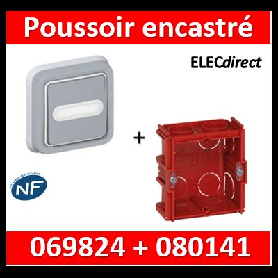 Legrand Plexo - Poussoir plexo sonnerie porte étiquette encastré + boîte batibox - IP55/IK07 - 069824+080141