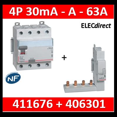LEGRAND - Interrupteur différentiel DX3-ID 4P 63A - 30mA - A + module 4P - 411676+406301