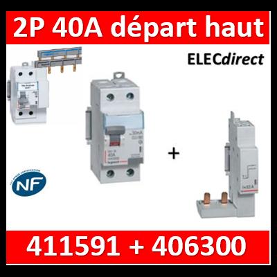 LEGRAND - Interrupteur Différentiel 2P - 40A - 30ma Type HPI Départ haut + module 2P - 411591+406300