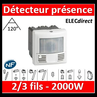 Legrand - Inter détecteur présence et mouvement Prog. Mosaic -ECO 2-3 fils-2000W-blanc - 078452