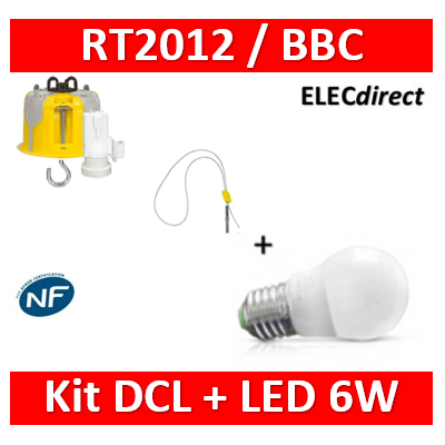 Vision-EL - Ampoule LED E27 Bulb G45 6W 3000°K + Kit DCL BBC + suspension - 7486+089360