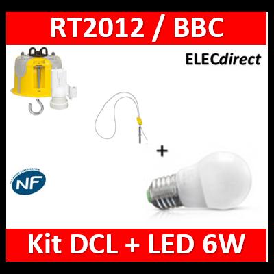 Vision-EL - Ampoule LED E27 Bulb G45 6W 3000°K + Kit DCL BBC + suspension - 7486+089360