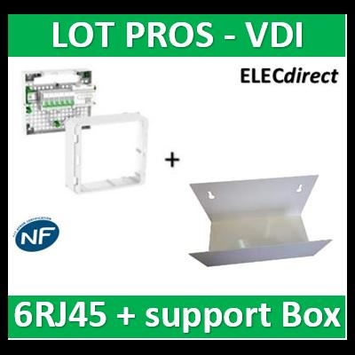 Schneider - Coffret VDI Grade 2 LexCom ECO-PACK 6 RJ45 + Support Box - VDIR390026+ETTRI250
