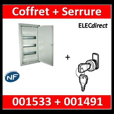 Legrand - Coffret encastrable 36 + 6 modules - 3 rangées de 14M + serrure - 001533+001491
